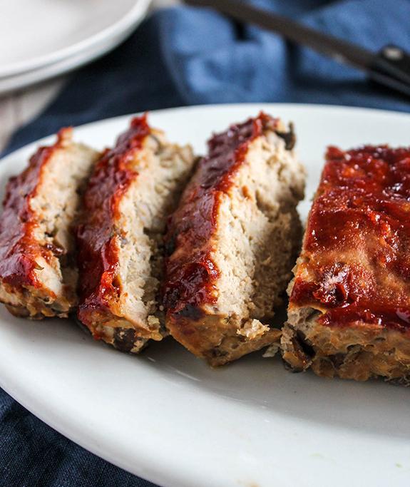 Close up of turkey meatloaf sliced