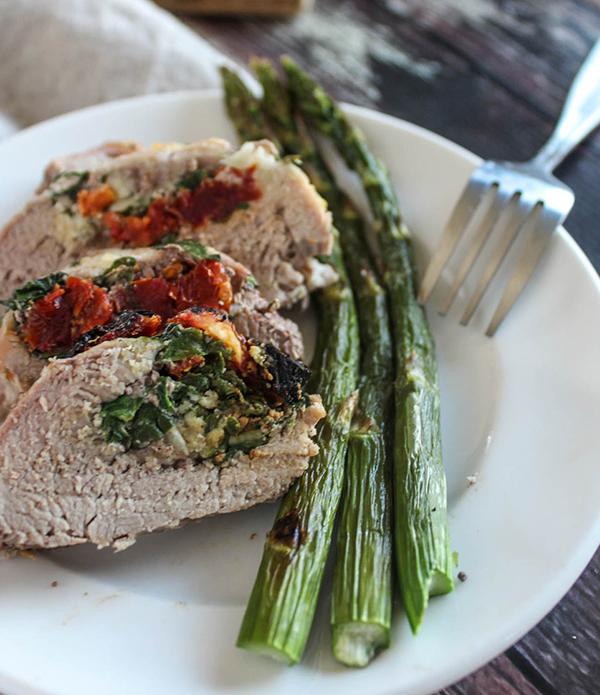 Pork Tenderloin on a plate with asparagus