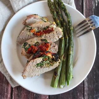 Pork tenderloin and asparagus on a plate