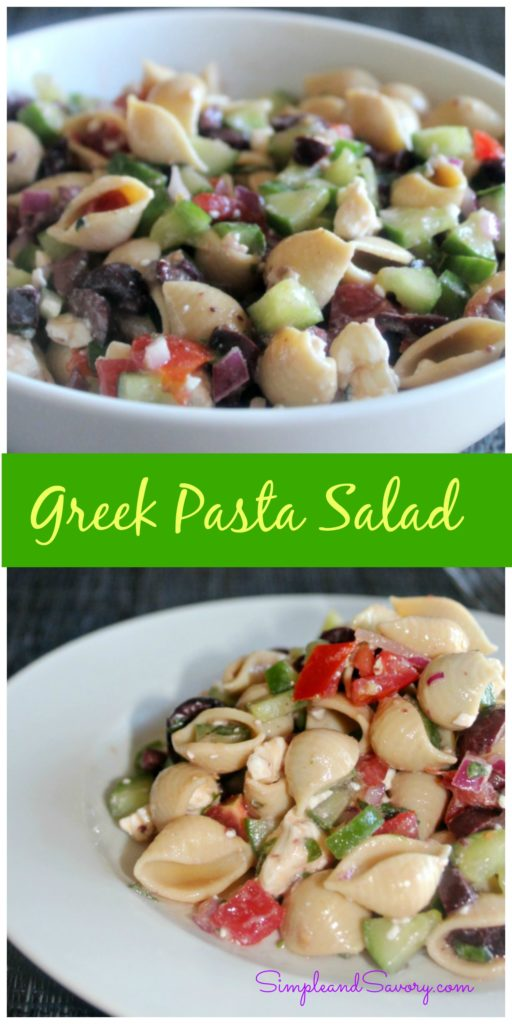 Greek Pasta Salad made with cucumbers, tomatoes and fresh herbs healthy and tasty Simple and Savory.com