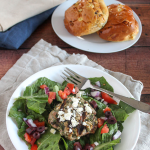 spinach feta turkey burger in a bowl