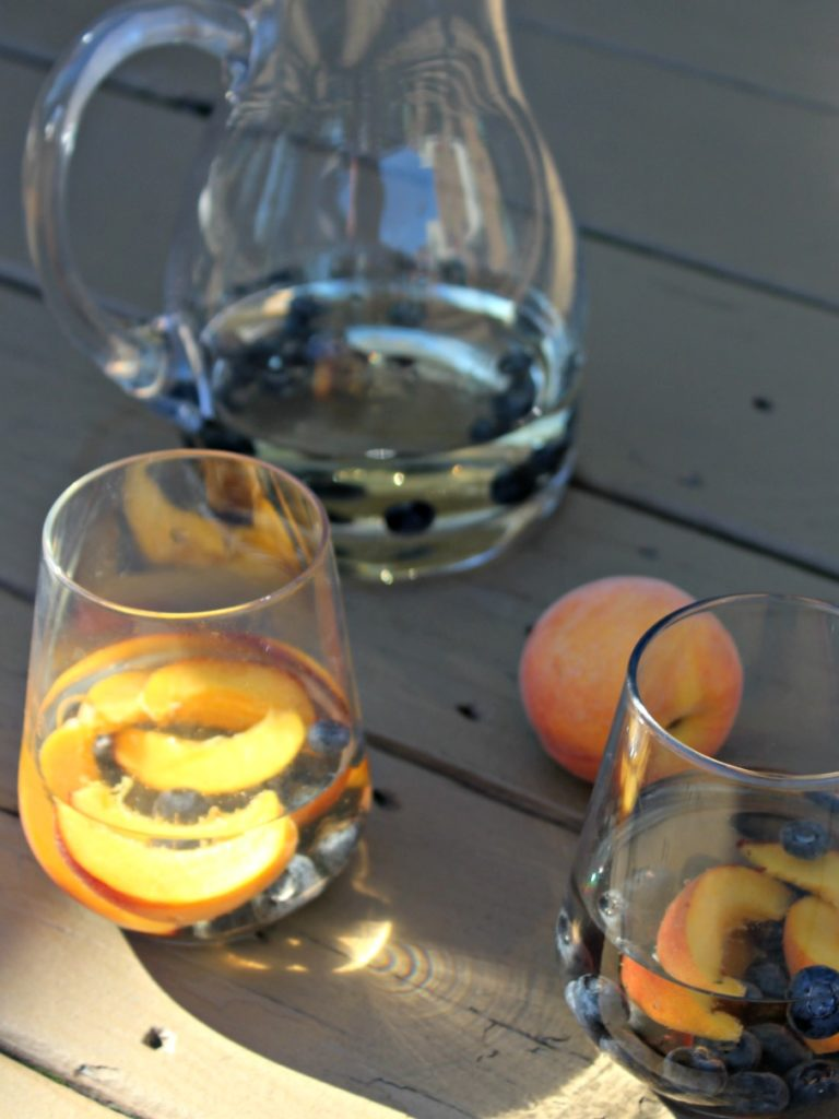Peach and blueberry sangria made with white wine