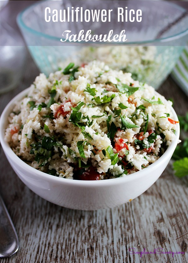 Cauliflower rice tabbouleh salad gluten-free grain-free low-carb
