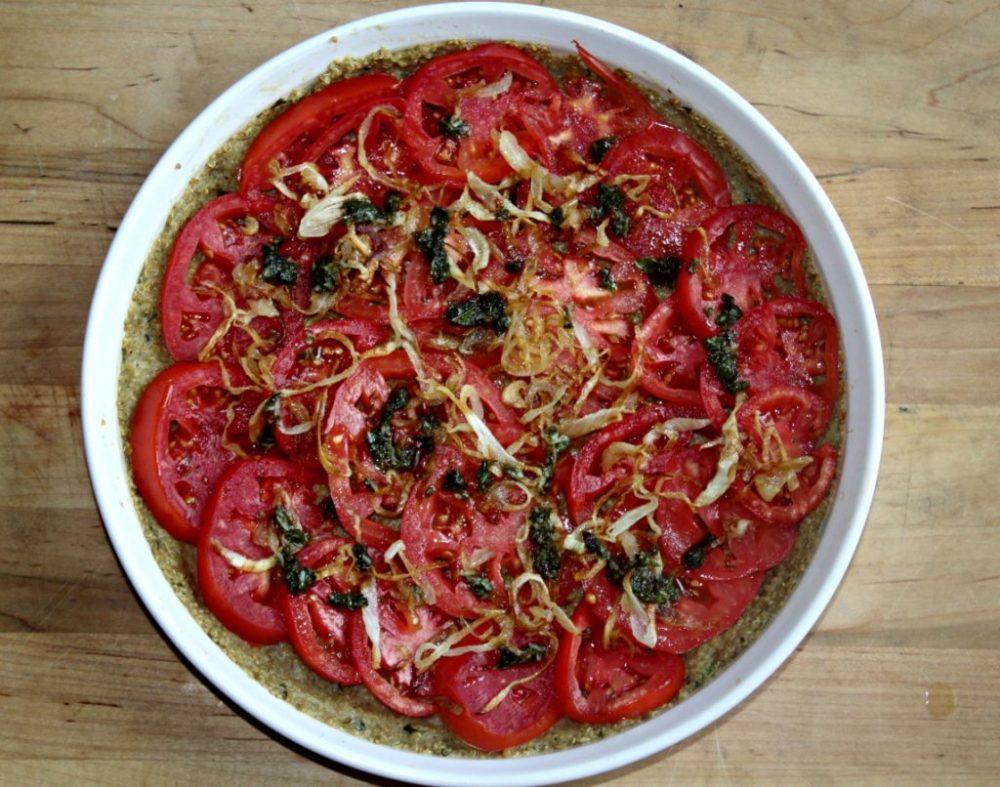 Tomato Tart with Caramelized Onions and Quinoa Pesto Crust