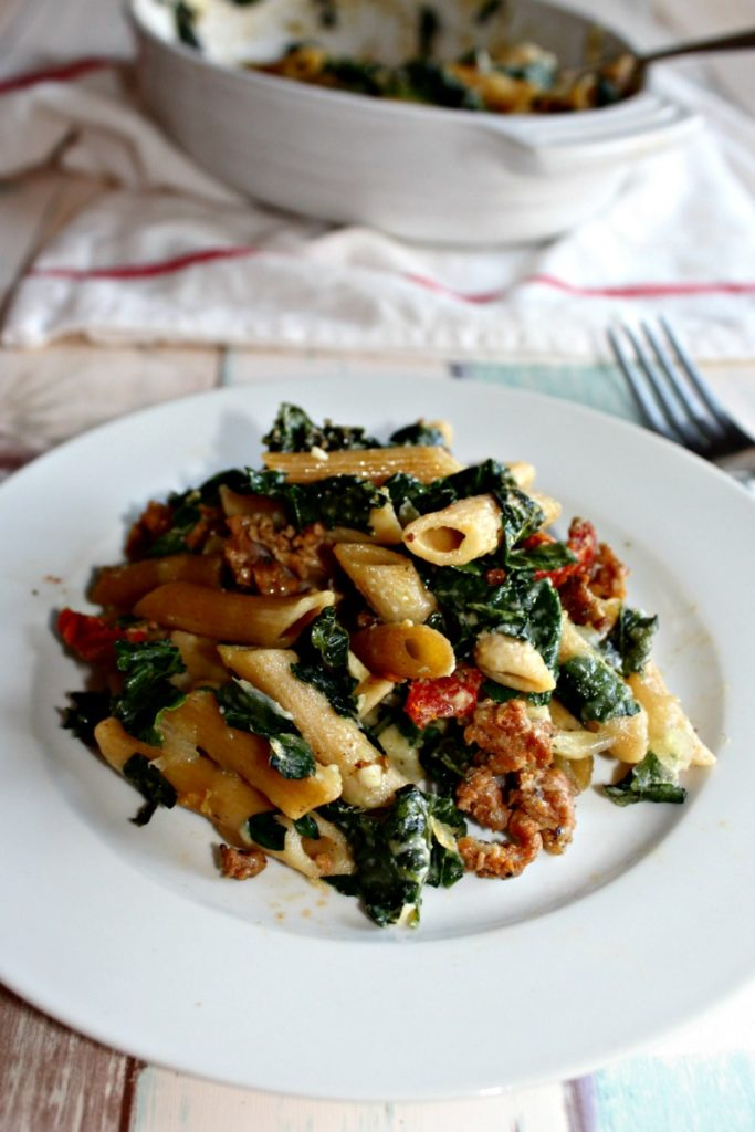 Baked Pasta with Kale and Sausage #SundaySupper - Simple ...