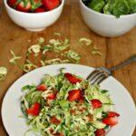 Shaved Brussels Sprouts Salad with strawberries Vegan Vegetarian Simpleandsavory.com