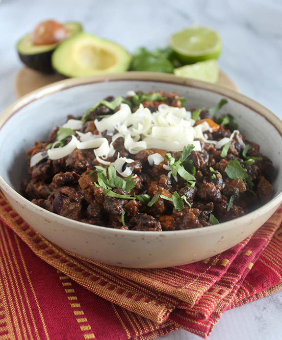 Bison chili in a bowl close up