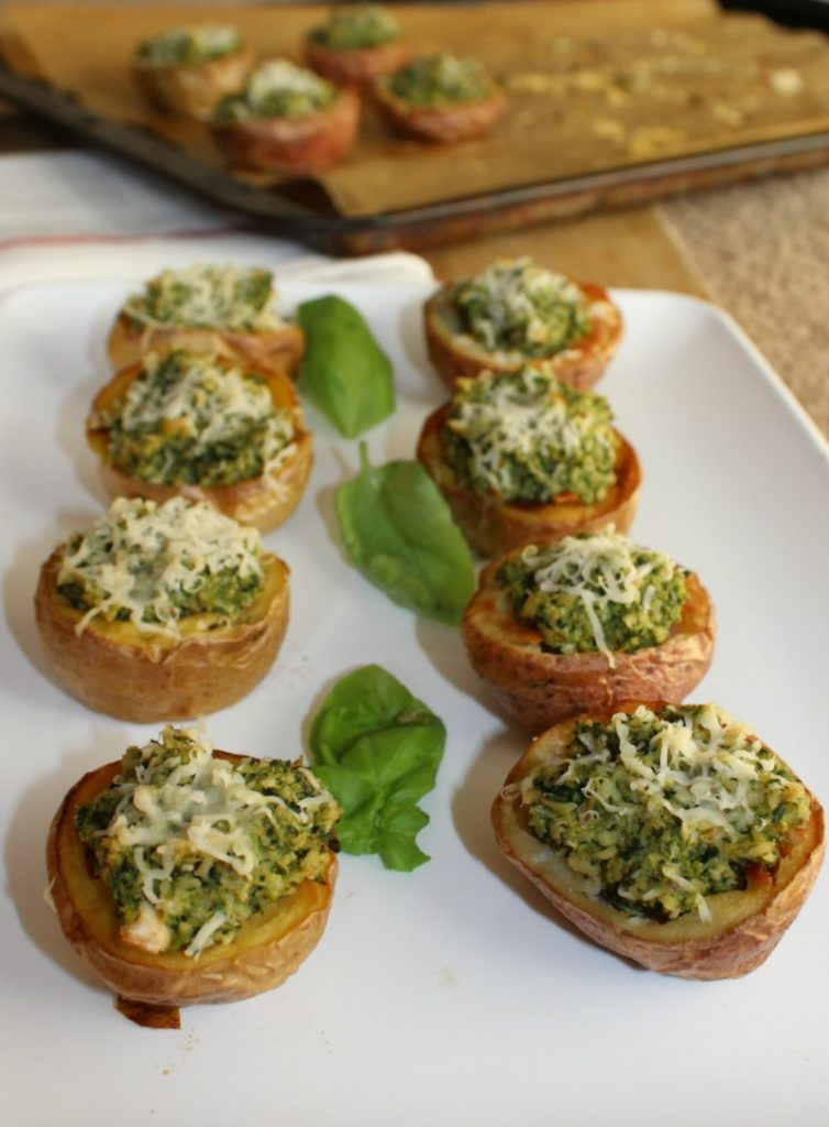 broccoli pesto stuffed potato bites from simpleandsavory.com