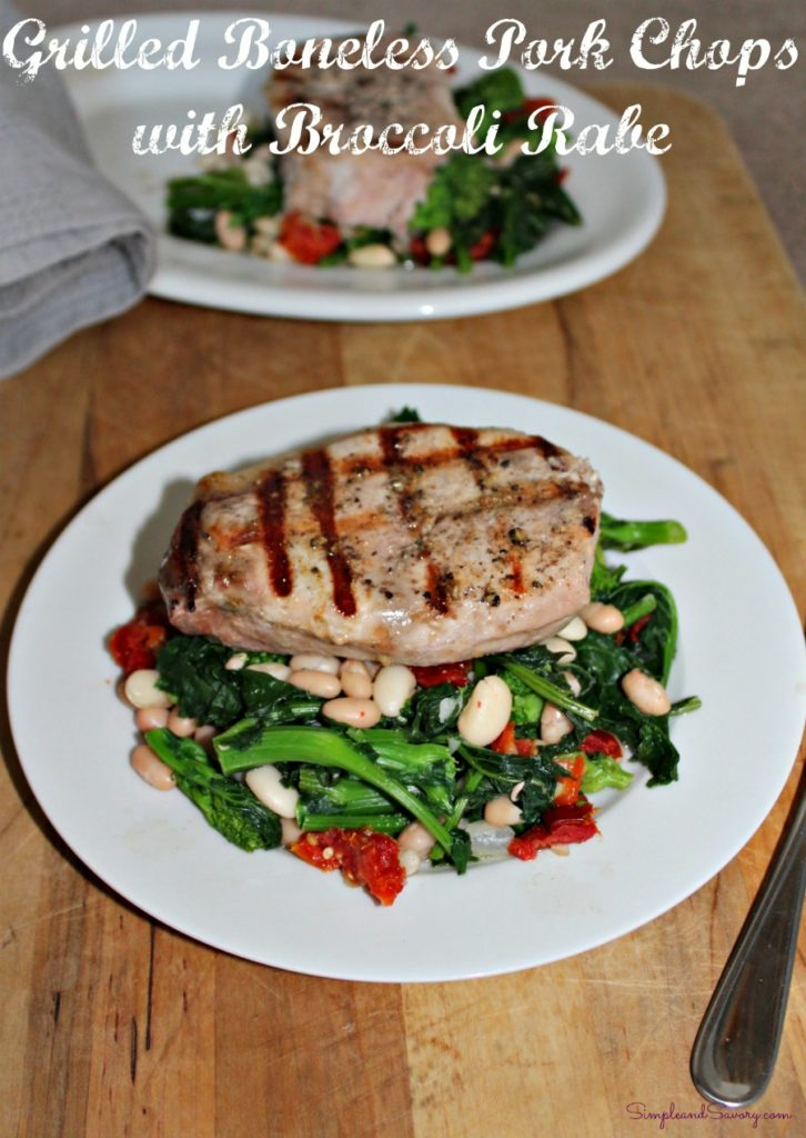 Grilled Boneless Pork Chops with Broccoli Rabe
