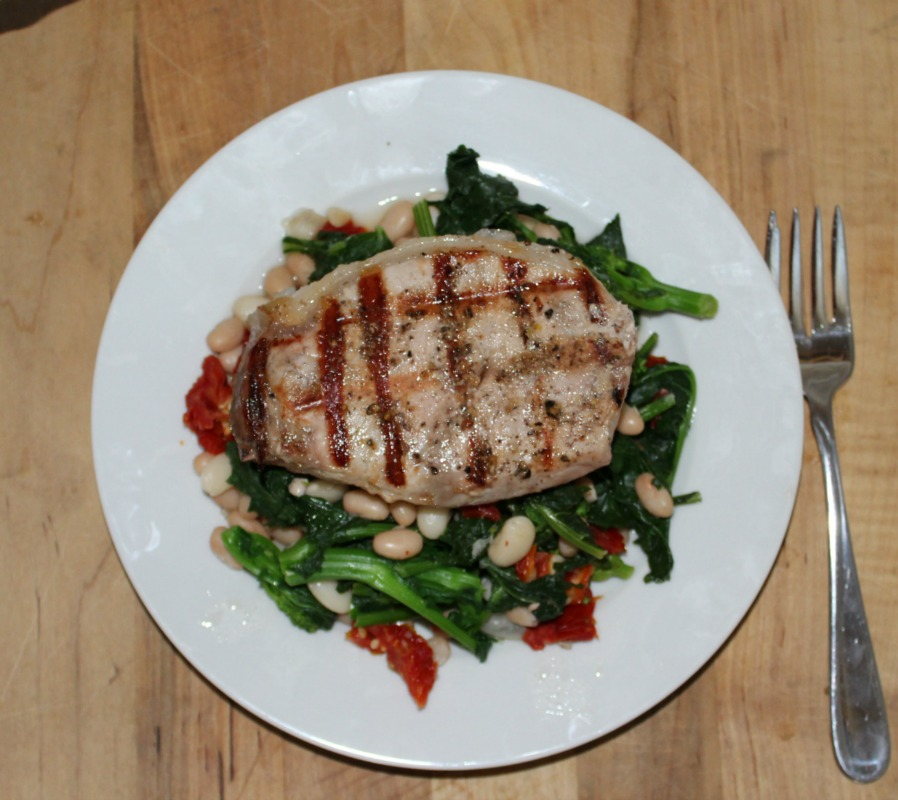 grilled boneless pork chops with broccoli rabe simple and savory.com