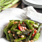 Grilled asparagus salad in a bowl