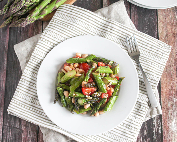an overhead picture of grilled asparagus salad