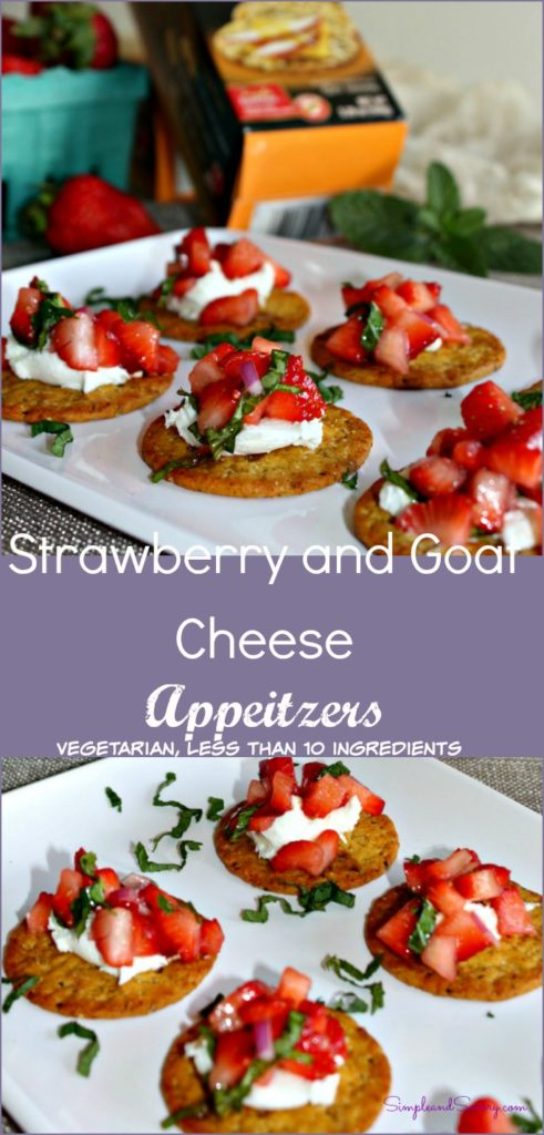 Strawberry and Goat Cheese appetizers vegetarian healthy less than 10 ingredients