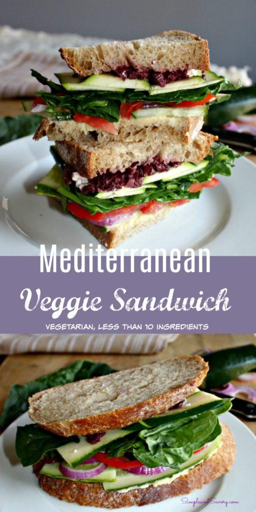 Mediterranean Veggie Sandwich Vegetarian less than 10 ingredients Simpleandsavory.com