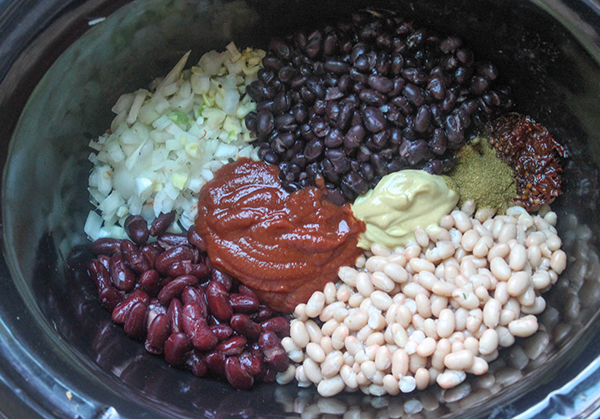 ingredients for slow cooked beans in a crock pot