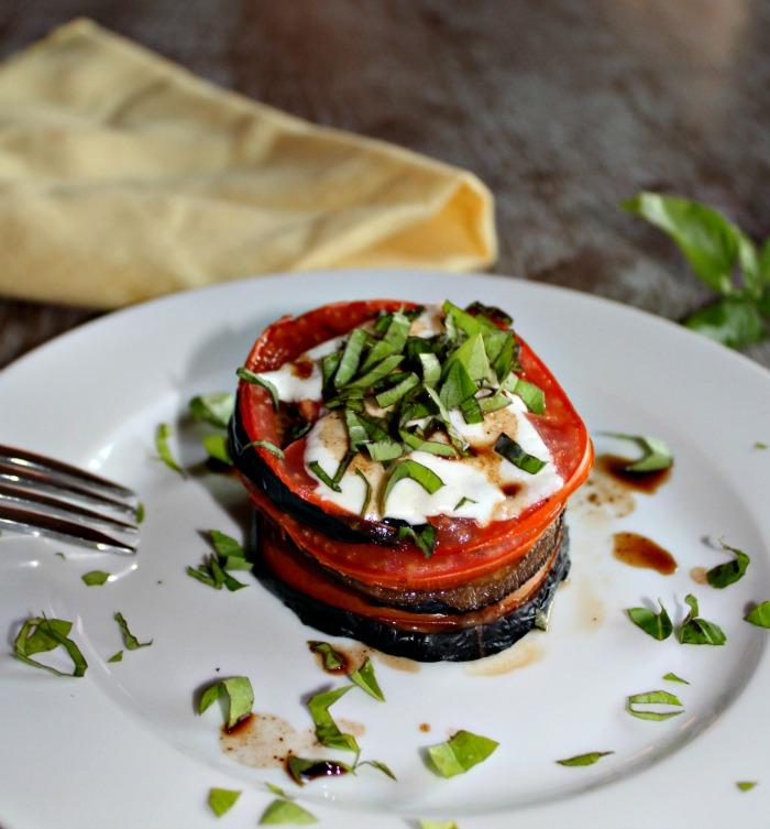 Grilled Eggplant Caprese Stacks - Simple And Savory
