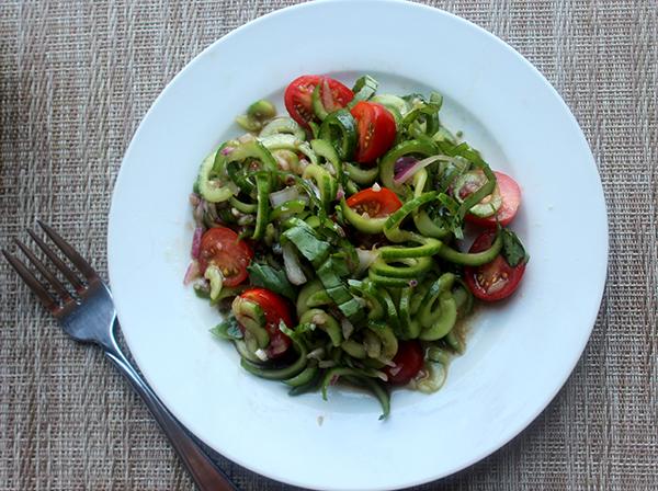 Spiralized cucumber salad gluten free summer salad