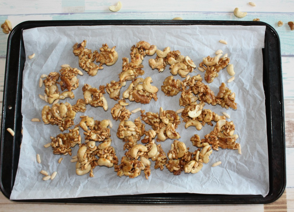 crispy puffed rice and nut clusters