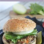 veggie mushroom burger on a plate