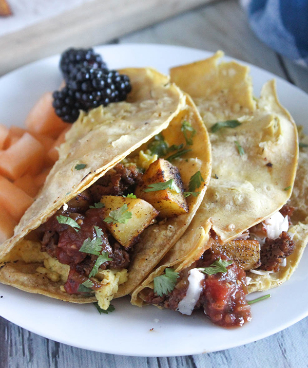 The Best Breakfast Tacos Made With Spicy Mexican Chorizo