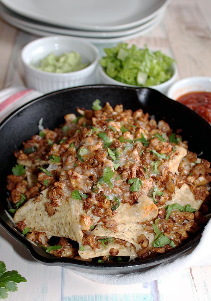 vegetarian nachos in a skillet