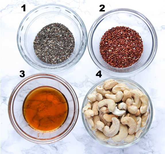 Chia seeds red quinoa maple syrup and cashews the ingredients for maple glazed cashews
