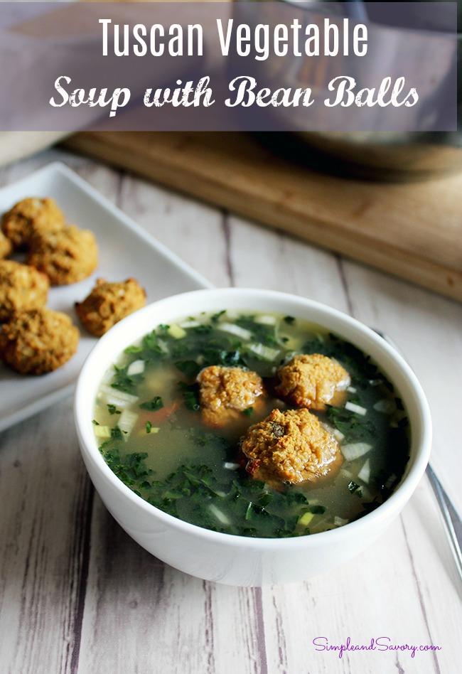 Tuscan vegetable soup with white bean balls vegan vegetarian