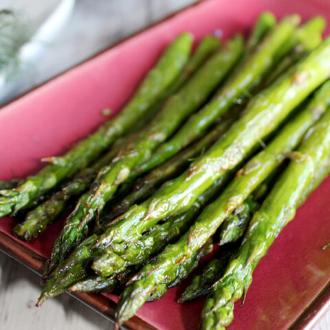 Roasted Asparagus with Miso Garlic Butter