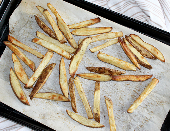 Oven-baked French Fries on a sheet pan