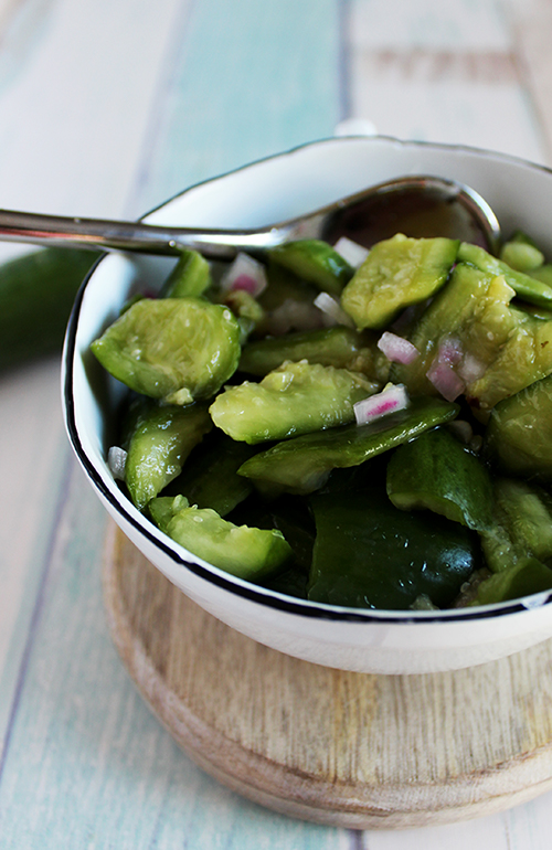 smashed cucumbers with vinegar low carb