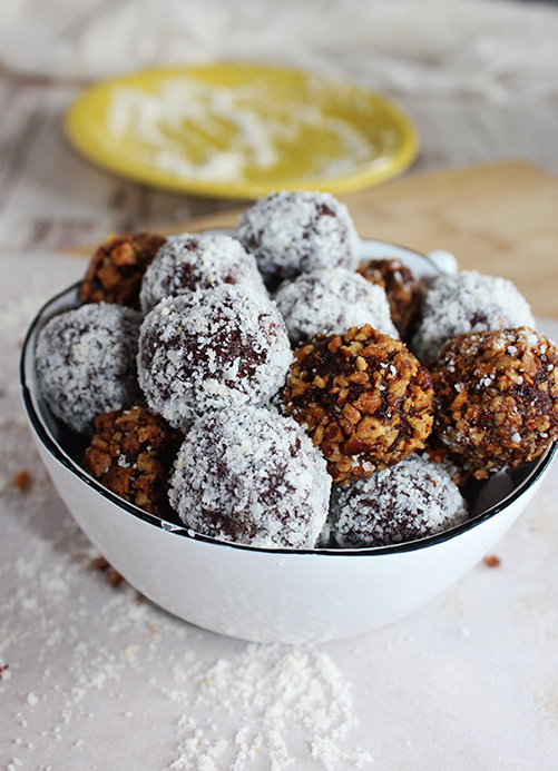 Chocolate bourbon balls made healthy in a bowl simple and savory