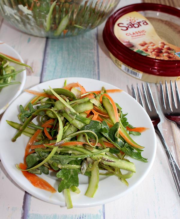 Shaved asparagus salad with creamy garlic dressing