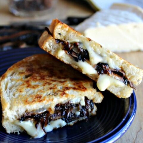 Grilled Brie Cheese with Smoky Portobellos and Caramelized Onions #SundaySupper