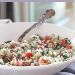 tabbouleh salad made with cauliflower in a bowl