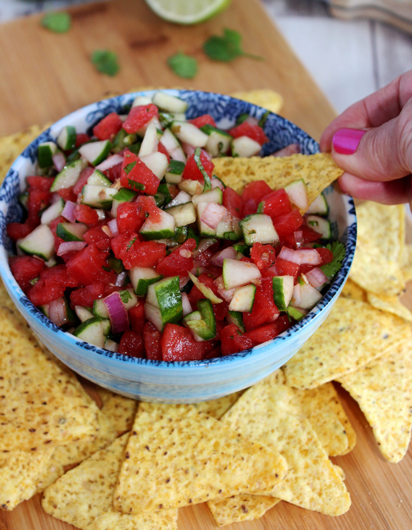 Cucumber watermelon salsa perfect for dipping
