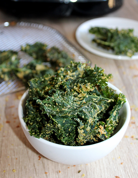 air fried kale chips in a bowl