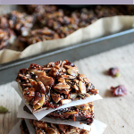 A stack of chocolate grain free granola bars