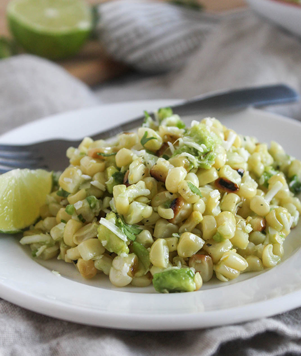 Mexican Street Corn Salad in a bowl close up