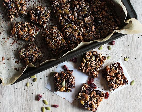 chocolate grain free granola bars overhead view