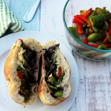 Portobello mushroom cheesesteak sandwich vegan vegetarian simple and savory