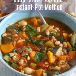 minestrone soup in a bowl with a spoon