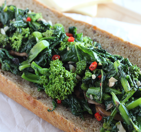 broccoli rabe sandwich with mushroomsvsimple and savory