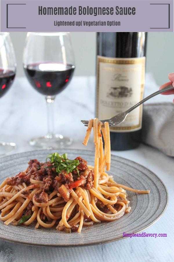 Bolognese sauce on a fork