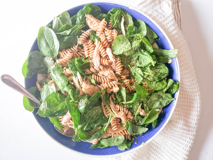 a completed view of the pasta salad