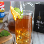 Iced tea in a glass with a lemon slice