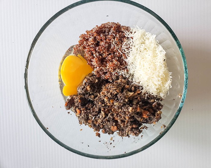 veggie burger ingredients in a bowl not mixed together