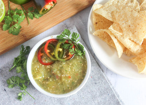 overhead view of roasted tomatillo salsa