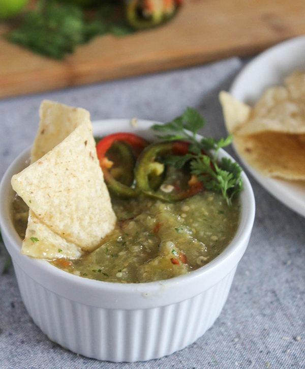 roasted tomatillo salsa verde with a chip