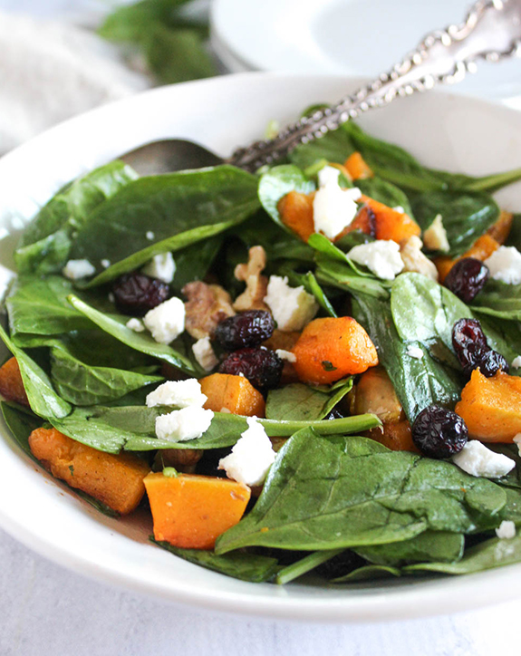 Maple Cinnamon Butternut Squash Spinach Salad Simple And Savory