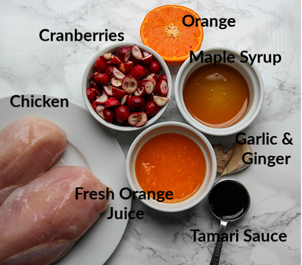 All of the ingredients for the cranberry orange chicken displayed